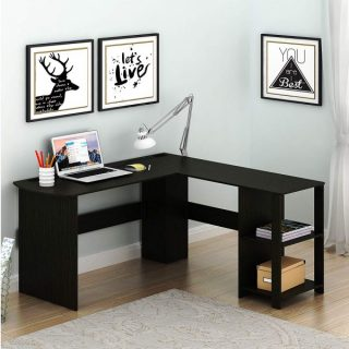 2. SHW L-Shaped Home Office Corner Desk Wood Top, Espresso