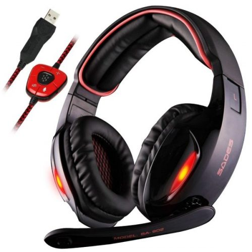 2. Sades SA902 7.1 Channel Virtual USB Surround Stereo Wired PC Gaming Headset Over Ear Headphones with Mic Revolution Volume Control Noise Canceling LED Light