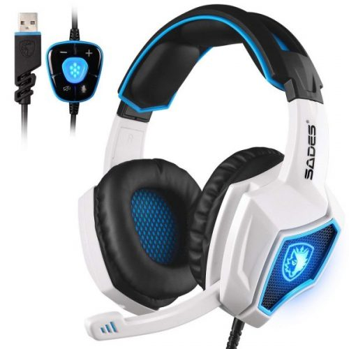 4. New Updated SADES Spirit Wolf 7.1 Surround Stereo Sound USB Computer Gaming Headset with Microphone