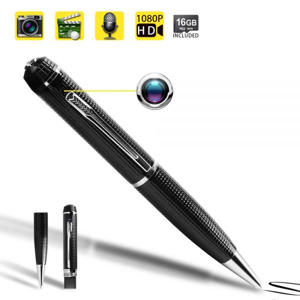 5. 1080P HD Spy Pen Camera Mini Video Recorder with Photo Taking Function, 16GB Memory Card Built in