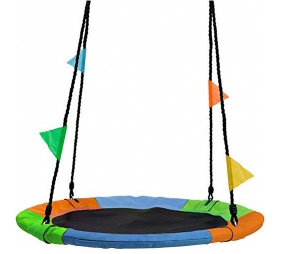 6. Sorbus Saucer Tree Swing in Multi-Color Rainbow – Kids Indoor