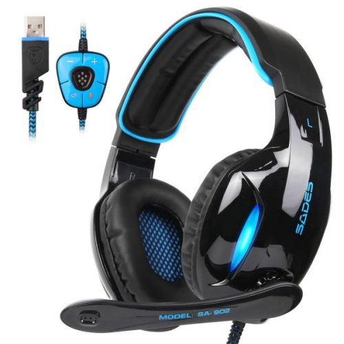 9. SADES SA902 Gaming Headset Headphone Stereo 7.1 Channel USB wired with Mic Volume Control LED Light
