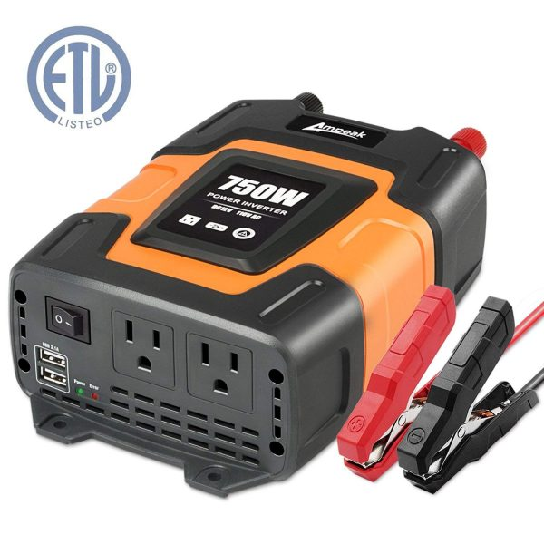 11. Ampeak 750W Power Inverter 12V DC to 110V AC Converter with Dual 3.1A USB Dual AC Outlets Car Inverter