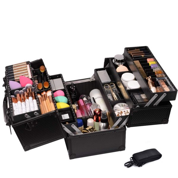 11. Makeup Train Case Professional Adjustable - 6 Trays Cosmetic Cases Makeup Storage Organizer Box with Lock and Compartments
