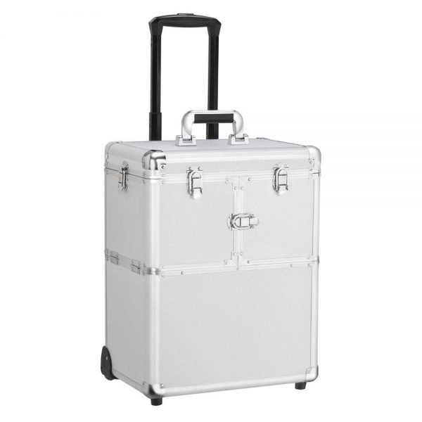 13. Yaheetech Professional Rolling Makeup Case - Cosmetic Train Case Loakable Beauty Trolley Large Train Case Cosmetic Organizer Wheels Handle Mirror Silver