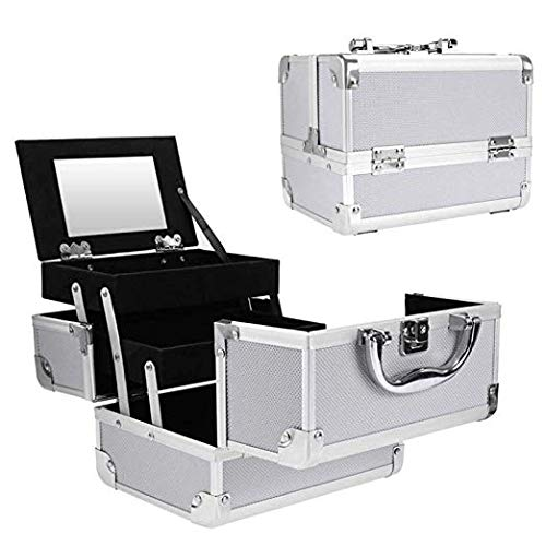 14. Portable Makeup Train Case,Aluminum Makeup Organizer Jewelry Cosmetic Box with 2 Trays, Mirror and Key Lock