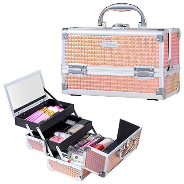15. Joligrace Makeup Box Cosmetic Train Case Jewelry Organizer Lockable with Keys and Mirror 2-Tier Tray Portable Carrying with Handle Travel Storage
