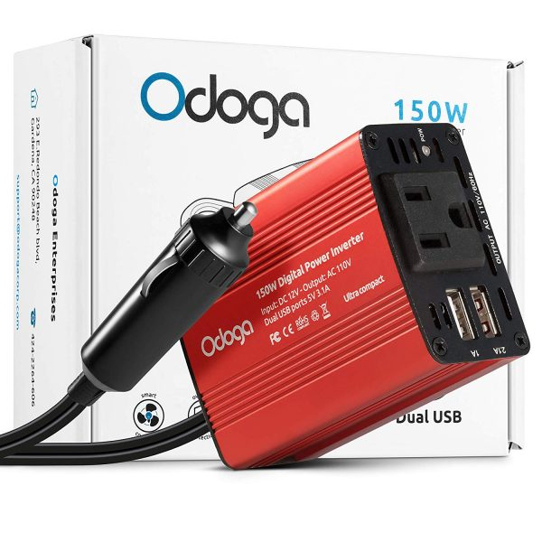 15. Odoga 150W Car Power Inverter DC 12V to 110V AC Car Adapter ~ Dual USB Ports