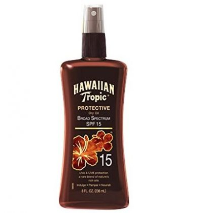 6. Hawaiian Tropic Sunscreen Protective Tanning Dry Oil Broad Spectrum Sun Care Sunscreen Spray - SPF 15, 8 Ounce