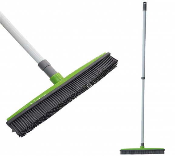 10.FamilyDate-2.3-ft-to-4.5-ft-TPR-Natural-Telescoping-Handle-Pet-Hair-Remover-Rubber-Broom-with-Squeegee-Push-Broom-Carpet-Broom-Pet-Hair-Removal-No-Dead