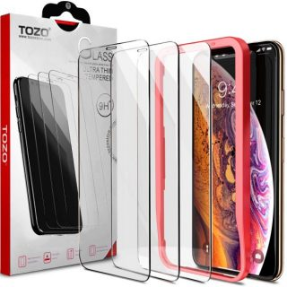 14. TOZO iPhone Xs Max Screen Protector [3-Pack] Premium Tempered Glass