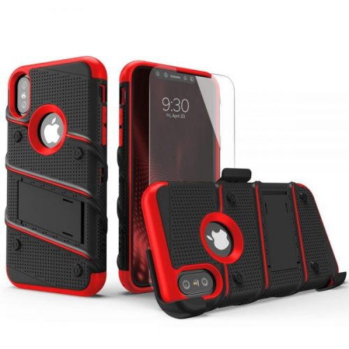 4. Zizo Bolt Series Compatible with iPhone Xs Max case Military Grade Drop Tested with Tempered Glass Screen Protector, Holster, Kickstand Black RED