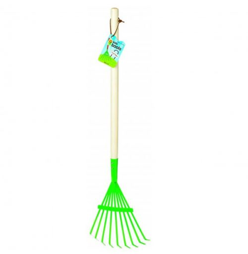 5. Toysmith 27-Inch Kid's Metal Leaf Rake with Hardwood Handle