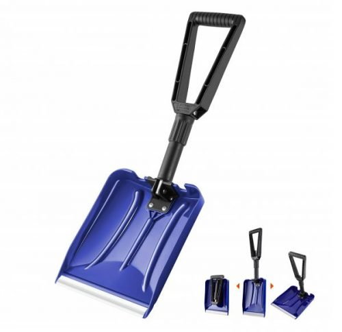 6. ORIENTOOLS Folding Snow Shovel with D-Grip Handle and Durable Aluminum Edge Blade, Emergency Snow Shovel for Car, Truck