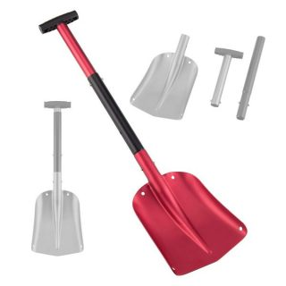 7. Aluminum Lightweight Utility Shovel Adjustable and Collapsible Winter Snow Shovels for Car Camping Garden (Red)