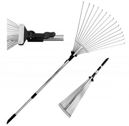 9. Adjustable Folding Leaves Rake for Quick Clean Up of Lawn and Yard, Garden Leaf Rake, Expanding Handle with Adjustable