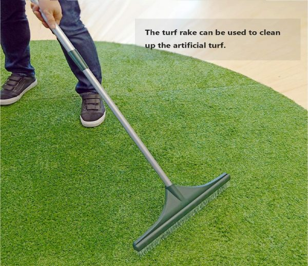 9.ORIENTOOLS-Turf-Rake-Ergonomic-Adjustable-Lightweight-Steel-Handle-Plastic-Head-with-PA-Brush-32-to-52-inches-Carpet-Rake