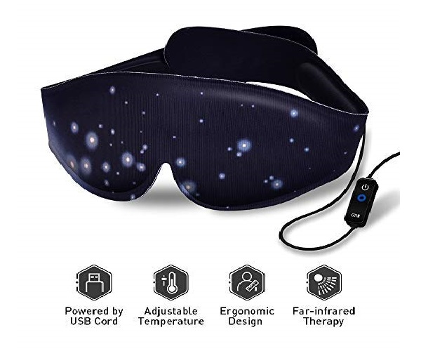 1.Heated Eye Mask - USB Dry Eye Mask, Electric Heating Eye Mask, Far-Infrared Therapy, Adjustable Temperature, Sleeping Heated Eye Mask, Sleep Mask for Dry Puffy Eyes