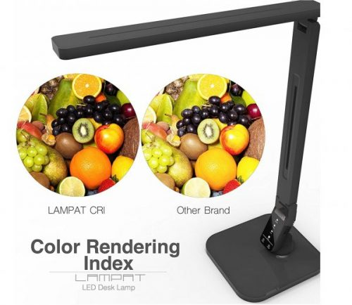 1.Lampat LED Desk Lamp, Dimmable LED Table Lamp Black, 4 Lighting Modes, 5-Level Dimmer, Touch-Sensitive Control Panel, 1-Hour Auto Timer, 5V 2A USB Charging