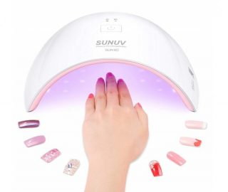 1.SUNUV 24W UV Light LED Nail Dryer Curing Lamp for Fingernail & Toenail Gels Based Polishes with Sensor, 30s 60s Timer SUN9C (Pink)