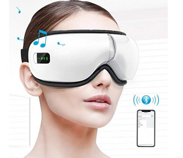 10.HOMIEE Eye Massager, Portable Electric Wireless Bluetooth Eye Care Massager with Air Pressure, Hot Compress, Vibration, Music for Eye Fatigue, Dry Eyes and Dark Circles