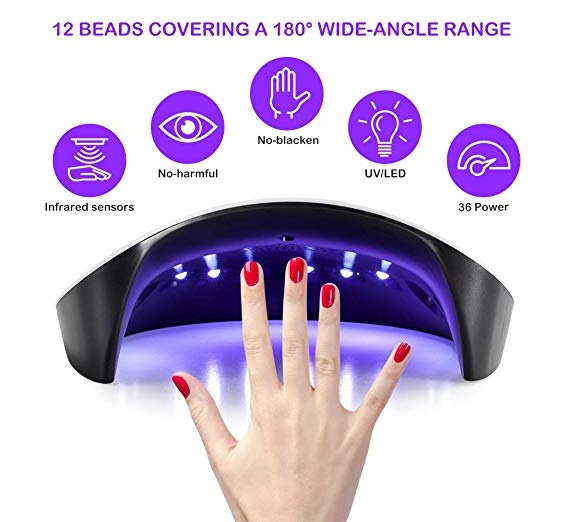 10.Nail Polish Curing Lamps, 36W UV Light LED Nail Dryer Curing Lamp Fingernail & Toenail Polishes Art Professional with Sensor by Huretek (3 Times)