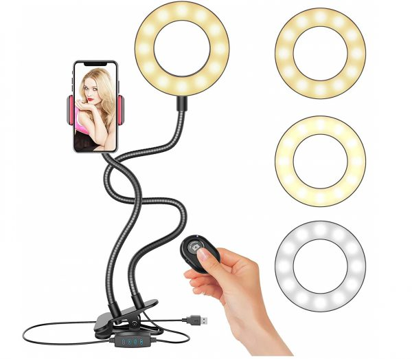10.Selfie Ring Light, Upgraded Ring Light with Wireless Remote and Cell Phone Holder Stand for Live Stream Makeup, LED Camera Light 3 Light Modes 10-Level