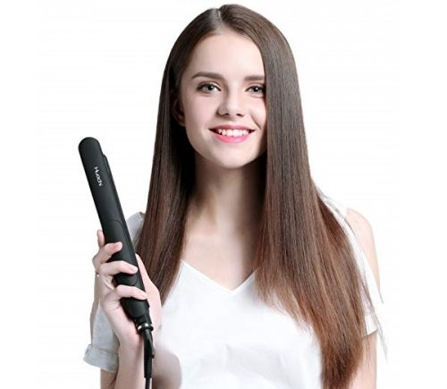 10.Steam Hair Straightener Huachi Flat Iron Vapor Ceramic Plate Fast Heat Up for Silky Smooth Hair, Professional Travel Hair Straightening Iron Dual Voltage 100 240V, 1 Inch