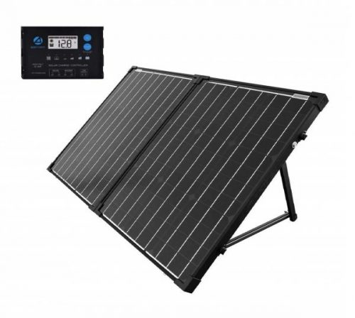 11.ACOPOWER 100W Mono Portable Foldable 2Pcs 50W Solar Panel Suitcase, Waterproof 20A 12V 24V LCD Charge Controller for Both 12V Battery and Generator