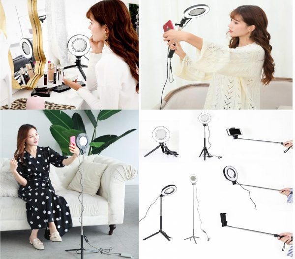 11.Dimmable Ring Light with Adjustable Height Light Stand,Selfie Stick and USB Plug,6 3200K~5500K Beauty Table Top Lamp with Makeup Mirror,Mini Tripod and