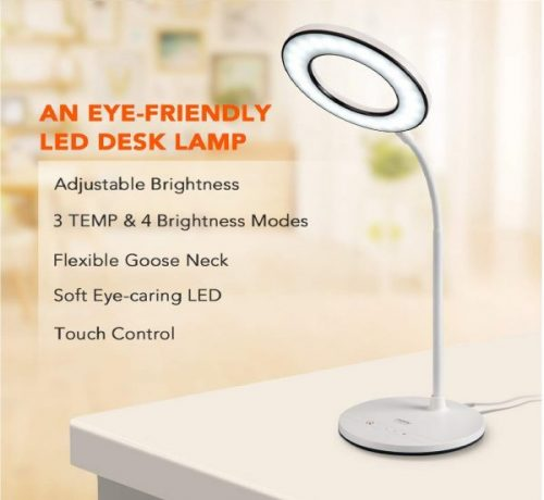 11.Miady LED Desk Lamp Eye-Caring Table Lamp, 3 Color Modes with 4 Levels of Brightness, Dimmable Office Lamp with Adapter, Touch Control Sensitive, 360° Flexible