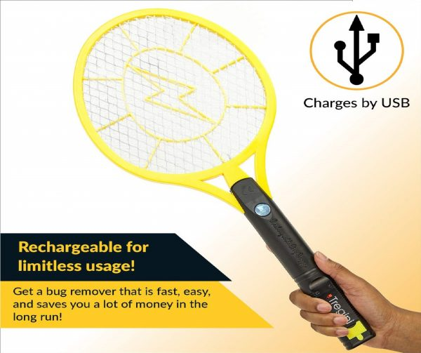 11.Tregini Large Electric Fly Swatter 2 Pack - Rechargeable Bug Zapper Tennis Racket with Safe to Touch Mesh Net and Built-in Flashlight - Kills Insects, Gnats
