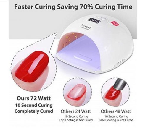 11.UV LED Nail Lamp, Terresa 72 Watt Faster Nail Dryer for Gel Polish, Nail Light with 3 Timer Setting, Salon Quality Professional Gel Lamp, Automatic Sensor Nail Art Tools for F