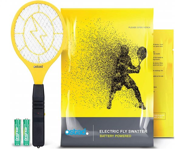 12.3000 Volt Electric Fly Swatter Mini Bug Zapper Outdoor Fly Killer Indoor Electric Safe to use on Bugs Inside or Outside Made from Durable ABS Material