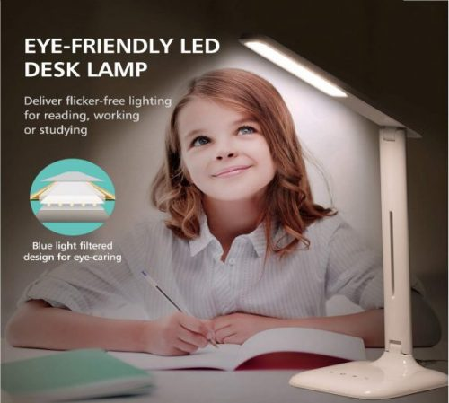 12.LED Desk Lamp, Eye-caring Table Lamp, Desk Light with 5 Brightness Levels and 5 Color Mode,USB Charging Port, Sensitive Control, 10W Power for Reading