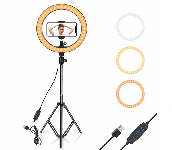 12.Ring Light 10 with Tripod Stand & Phone Holder for YouTube Video, Desktop Camera Led Ring Light for Streaming, Makeup, Selfie Photography Compatible with
