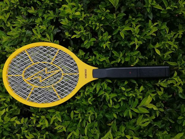 13.HOMEVAGE Electric Fly Swatter - Bug Zapper - Best High Voltage Handheld Mosquito Killer - Wasp, Fruit Fly, Insect Trap Racket For Indoor, Travel, Camping