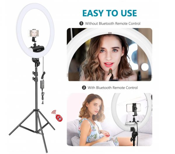 13.Neewer Ring Light Kit [Upgraded Version-1.8cm Ultra Slim] - 18 inches, 3200-5600K, Dimmable LED Ring Light with Light Stand, Rotatable Phone Holder, Hot