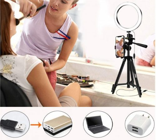 14.8 Selfie Ring Light with Aluminum Tripod Stand ,Phone Holder & Remote for YouTube Makeup,Mini Led Camera Light Ring with 3 Light Modes & 11 Brightness for...