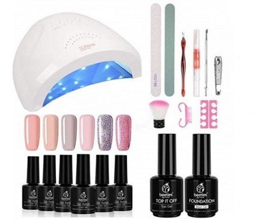 14.Beetles Gel Nail Polish Starter Kit with 48W UV LED Light Nail Lamp Base Top Coat, Soak Off Gel Color 6 Spring Summer Mauve Set Manicure Tools Essentials Nail Art Designs Seri