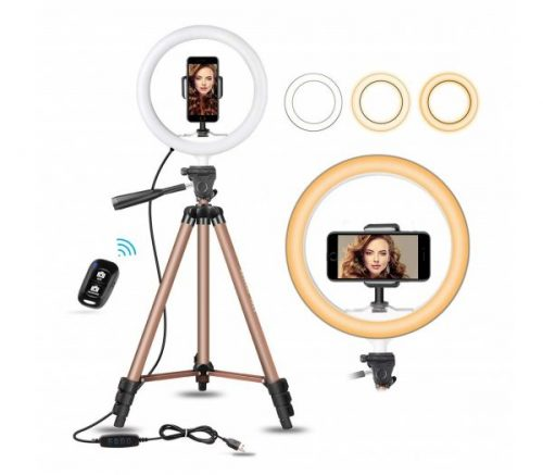 15.10 Selfie Ring Light with 50 Extendable Tripod Stand & Flexible Phone Holder for Live Stream Makeup, UBeesize Mini Desktop Led Camera Ringlight for.