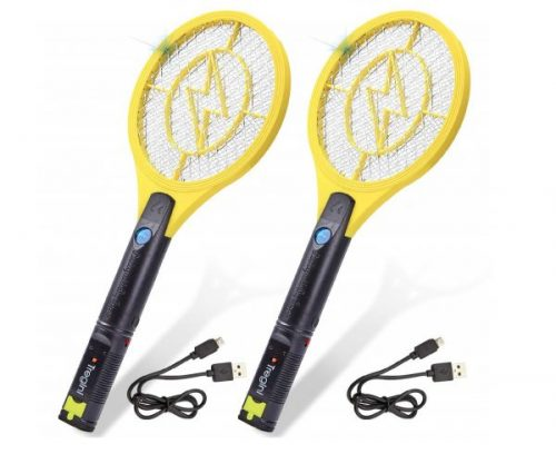 15.Tregini Mini Electric Fly Swatter 2 Pack - Rechargeable Bug Zapper Tennis Racket with Safe to Touch Mesh Net and Built-in Flashlight - Kills Insects, Gnats
