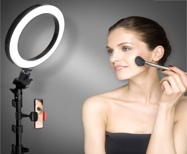 2.8 Selfie Ring Light with Tripod Stand & Cell Phone Holder for Live Stream Makeup, UBeesize Mini Led Camera Ringlight for YouTube Video Photography