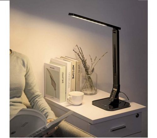 2.TaoTronics LED Desk Lamp with USB Charging Port, 4 Lighting Modes with 5 Brightness Levels, 1h Timer, Touch Control, Memory Function, Black, 14W, Official