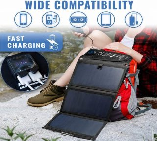 3.Foxelli Dual USB Solar Charger 21W - Foldable Solar Panel Phone Charger for iPhone X, 8, 7, 6s, iPad & Android, Galaxy S8, S7, S6, S5, Edge & More, Portable