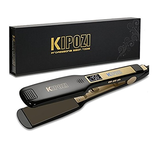 3.KIPOZI Professional Titanium Flat Iron Hair Straightener with Digital LCD Display, Dual Voltage, Instant Heat Up, 1.75 Inch Wide Black