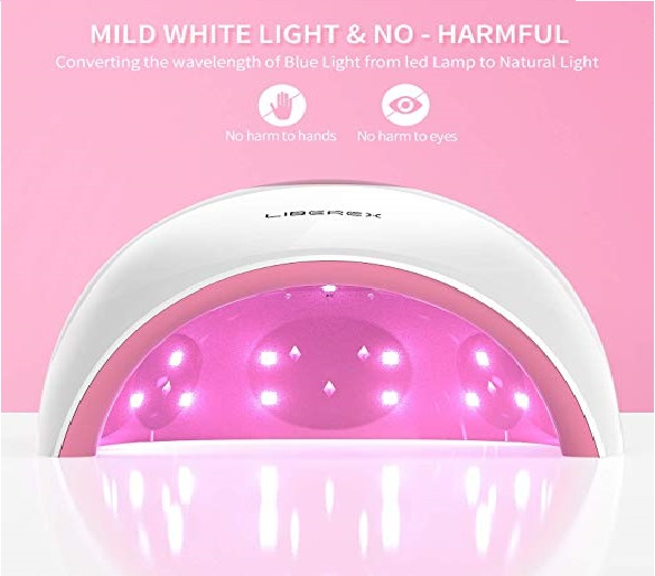3.Liberex UV Nail Lamp - LED Nail Dryer, Professional Curing Light with Smart Sensor, LCD Display, 4 Timer Settings for all Fingernail & Toenail Gel Nail Polish