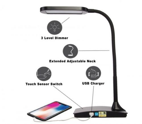 3.TW Lighting IVY-40BK The IVY LED Desk Lamp with USB Port, 3-Way Touch Switch, Black