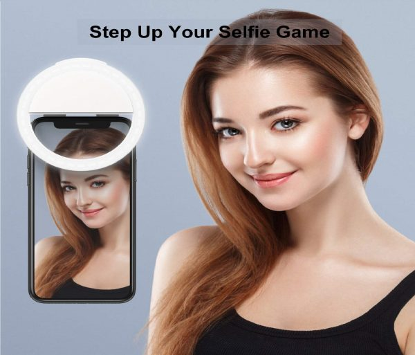 4.Auxiwa Clip on Selfie Ring Light Rechargeable Battery with 36 LED for Smart Phone Camera Round Shape, White