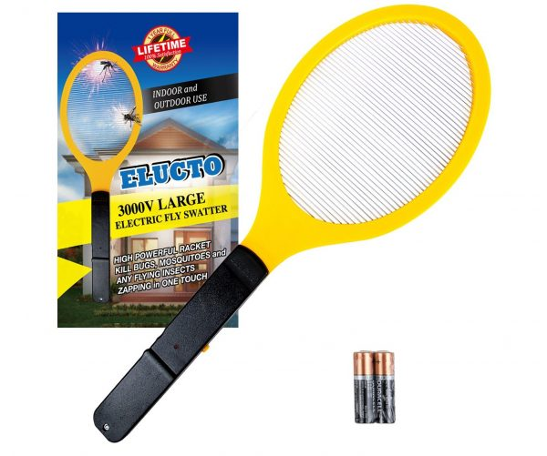 4.Elucto Large Electric Bug Zapper Fly Swatter Zap Mosquito Best for Indoor and Outdoor Pest Control (2 DURACELL AA Batteries Included)